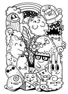 Coloring books Hipster Dessinés à La Main Crazy Doodle Monster Garden Hipster Doodles, Funny Doodles, Kawaii Doodles, Hipster Art, Cute Doodle Art, Doodle Art Designs, Doodle Art Drawing, Drawing For Kids, Drawing Sketches