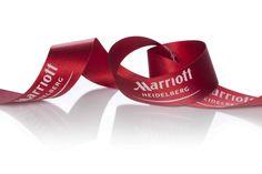 beautiful red Marriott image ribbons for a perfect brand communication #geschenkband #satiband #rot #banddruck #namensbänder #logobänder #packaging #red