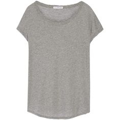 James Perse Cotton-jersey T-shirt ($200) ❤ liked on Polyvore featuring tops, t-shirts, grey, relaxed fit tops, grey t shirt, slouchy tops, slouchy t shirt and james perse