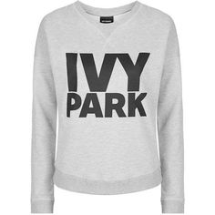 Logo Crew Neck Sweatshirt by Ivy Park ($41) ❤ liked on Polyvore featuring tops, hoodies, sweatshirts, ivy park, twist top, sport top, sport sweatshirts, crew-neck tops and sports crew neck sweatshirts
