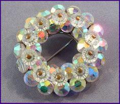 Brilliant Aurora Borealis (AB) Crystal Rainbow Brooch by MarlosMarvelousFinds, $23.00