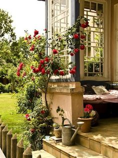 Exquisite porch corner with lovely multi-paned windows and climbing red roses Outdoor Rooms, Outdoor Gardens, Outdoor Living, Indoor Outdoor, Rustic Outdoor, Beautiful Gardens, Beautiful Homes, House Beautiful, Decoration Facade