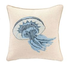 Detailed Embroidery! Reef Jellyfish Coastal Pillow