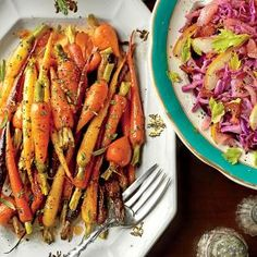 Orange-Ginger-Chile-Glazed Carrots   Southern Living. Roasting whole carrots in a hot oven and then giving them a final toss in a sweet glaze yields an unforgettable side dish.