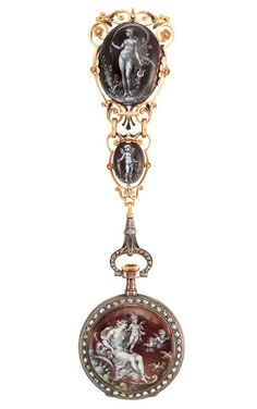 Lady's Antique Gold, Silver, Enamel and Diamond Open Face Lapel Pendant-Watch, Tiffany & Co. circa 1895