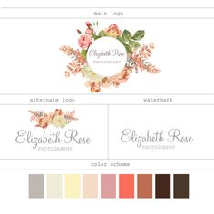 Premade logo Branding Package Boutique logo Floral design Small business logo Calligraphy Premade design Watercolor Logo Watermark design by marvoliedesign. Explore more products on http://marvoliedesign.etsy.com