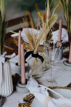 Pink candles, gold rim glasses and dried wheat in a glass bottle with black ribbon Images by Mannon Pauffin Wheat Wedding, Wedding Table, Wedding Blog, Rustic Wedding, Wheat Decorations, Reception Decorations, Gold Rimmed Glasses, Pink Candles, Deco Table