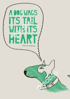 Bull terrier illustration with quote print by mobijo on Etsy. @Carlos Navarro García Chobs