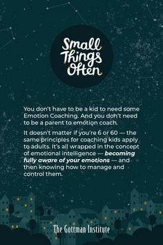 Do you invest in your emotional intelligence? Hear the benefits of Emotion Coaching at any age on the newest episode of Small Things Often. Gottman Institute, John Gottman, Small Words, Just Kidding, Emotional Intelligence, Best Relationship, Listening To You, Small Things, Life Is Good