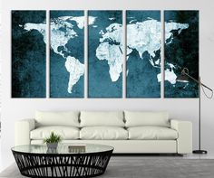 World map canvas antique map large wall art up to 6 ft wide dark watercolor world map canvas art print dark watercolor world map art print no gumiabroncs Gallery