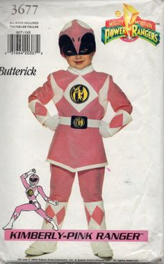 Butterick 3677 Childs Kimberly Pink Ranger POWER Ranger Girls Halloween Costume Sewing Pattern by mbchills