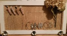Framed Jewelry organizer Solid Fir Wood by BrumbleBerryBoutique