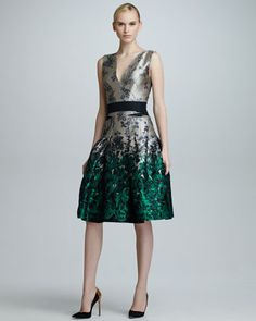 Ombre Floral Jacquard Dress, Star/Green by Carolina Herrera at Neiman Marcus.