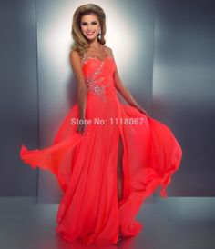 Hot Sexy Open Back Halter Neck Beaded Crystals HIgh Side Split Chiffon Long Evening Dress Prom Dresses 2014