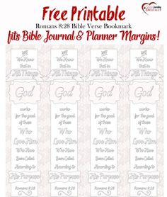 Free Coloring Bible Bookmark for memory or Bible Journaling or Planners #biblejournaling #planner