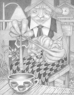 Coffee #pencildrawing #surreal  #fantasy #cat