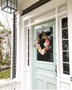 Door color is Benjamin Moore Catalina Blue Front door entrance Exterior Paint Colors, Exterior House Colors, Paint Colors For Home, Front Door Colors, Front Door Decor, Front Doors, Front Entry, Apartment Entryway, Apartment Ideas