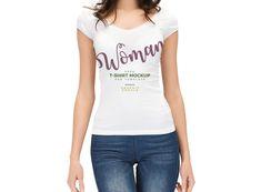 Woman wearing T-Shirt Mockup | MockupWorld