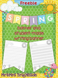 Freebie - decorate your classroom, bulletin board or hallway with this Spring banner freebie that also includes a spring writing activity for students.
