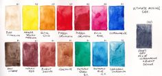 15 Great Colours - My ultimate mixing set of 15 colours. I have created a book which shows every possible two colour and most three colour mixes using this set. See The Ultimate Mixing Palette tab above.