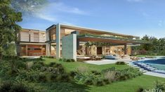 ZA Upper Primrose: In the lush suburb of Bishopscourt this pavilion style house, inspired by the clients' Asian travel experience, integrates. In Dubai, Modern Villa Design, My Dream Home, Dream Homes, Pavilion, Luxury Homes, Architecture Design, Pergola, Outdoor Structures