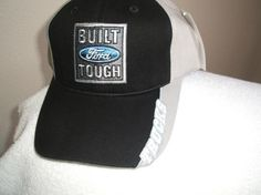 Ford Trucks-Built Tough Patch on a new black/gray w/white trim ballcaps new w/tags
