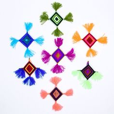 Ojo de dios, or god's eye ornaments made with Mexican yarn