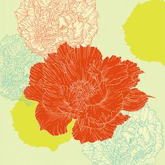 Textile & Surface Patterns on Behance Carnation Drawing, Peony Illustration, Japanese Drawings, Graphic Patterns, Floral Patterns, Japanese Flowers, Botanical Drawings, Surface Pattern, Surface Design