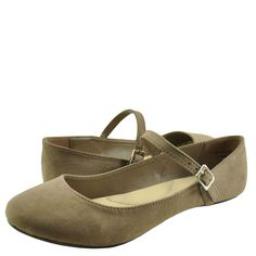 Women's Shoes Bamboo Chantel 30V Casual Ballet Mary Jane Flats Light Taupe