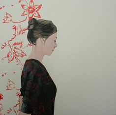 "Saatchi Art Artist Karoline Kroiß; Painting, ""girl with patterned shirt"" #art (RJ)"