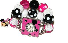 Minnie Mouse Inspired Beaded Watch Hot Pink  Minnie by BeadsnTime, $30.00