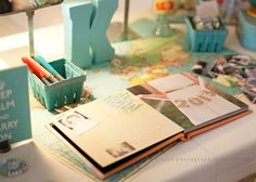 An idea for his guest book. Get scrapbook. Put pictures and decorations on pages throughout, then have people sign it at the party. That way he has a nice keep sake from high school