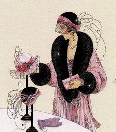 Art Deco Lady Selecting a Hat Art Deco Posters, Vintage Posters, Illustrations Vintage, Illustration Art, Vintage Images, Vintage Art, Minimalistic Style, Moda Art Deco, Art Nouveau