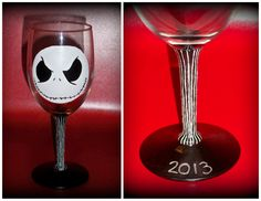 *For Sale*  Jack Skellington Wine glass, 1 in a set of 4 Nightmare Before Christmas - Devious Jack, pinstripes, 2013  http://www.craftsbytiffyd.com/wine-glasses/