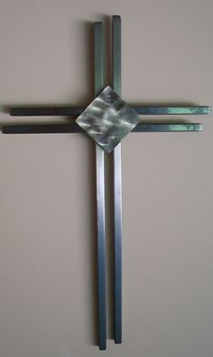 Hand Crafted Modern Metal Wall Cross by Jaysmetaldesigns on Etsy, $85.00