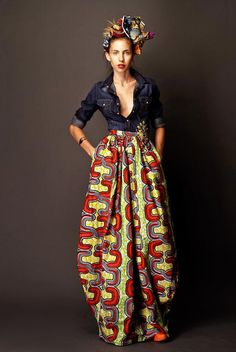 Stella Jean - Long Skirt in African Fabric. Printed Maxi Skirts, Long Maxi Skirts, Skirt Pleated, Short Dresses, Midi Skirts, Flowy Skirt, African Fabric, African Dress, African Prints