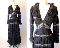Vintage 60's lace boho maxi dress / Steampunk goth by hausofmirth, $165.00