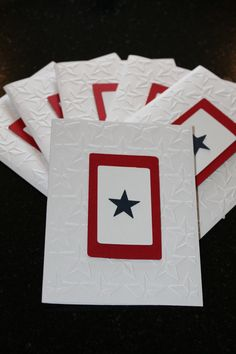 Items similar to Military Blue Star Banner Note Cards on Etsy Hand Made Greeting Cards, Greeting Cards Handmade, Paper Cards, Diy Cards, American Card, Military Cards, Honor Flight, Star Banner, Rotc