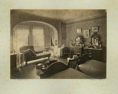 Interior view of the Lyman Estate House, bedroom with twin beds, Waltham, Mass., 1884 | Historic New England properties photographic collection (PC006) -- Historic New England
