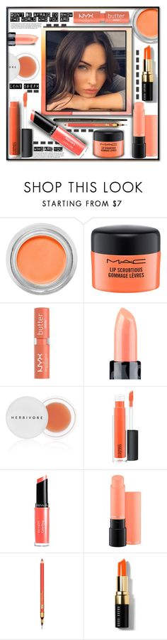 """""""Lip Service"""" by fassionista ❤ liked on Polyvore featuring beauty, MAC Cosmetics, NYX, Claire Evans, Herbivore, Revlon, Estée Lauder, Bobbi Brown Cosmetics, Illamasqua and INC International Concepts"""