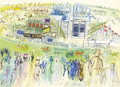 Raoul Dufy (French, 1877-1953), Epsom, le champ de courses vu des tribunes [Epsom, the racecourse seen from the stand]. Gouache and watercolour on paper, 50.3 x 66.2 cm.