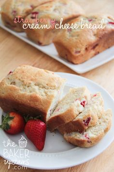 Strawberry Cream Cheese Bread ~  This bread is a tough competitor for my favorite fresh strawberry recipes. It's super simple and easy to make, it tastes amazing, and the texture is perfectly moist while still feeling light. I followed the recipe pretty closely, except that I added closer to two cups of chopped strawberries. I also baked it in four mini loaf pans instead of a full size loaf pan. cheese bread, breads, bread recipes, brunch, strawberri cream, baker upstair, chees bread, bakers, cream chees