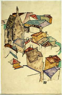 Egon Schiele Landscape Rooftops (via griffinlb)