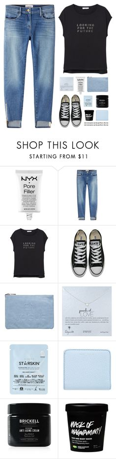 """eyes on the prize"" by amazing-abby ❤ liked on Polyvore featuring NYX, Frame, MANGO, Converse, Miss Selfridge, Dogeared, Starskin, Marc Jacobs and Brickell"