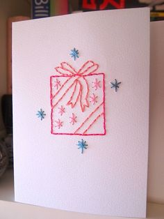 Embroidered xmas cards by What Katie Does (with tutorial on how to do this) #christmas