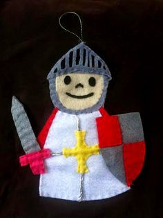 Caballero, Sant Jordi Felt Ornaments, Christmas Ornaments, Finger Puppets, Clever, Holiday Decor, Crafts, Once Upon A Time, Knight, Entertainment
