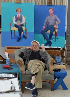 David Hockney with recently completed portraits in Los Angeles, March 2016.