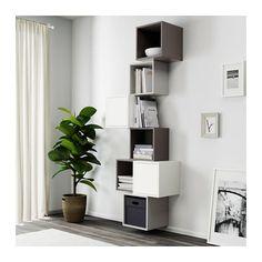 EKET wall-mounted cabinet combination - white / dark gray / light gray - IKEA - Ikea DIY - The best IKEA hacks all in one place Ikea Eket, Ikea Wall, Ikea Storage, Wall Storage, Wall Shelving, Book Storage, Ikea Furniture, Living Room Furniture, Street Furniture