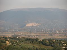 A view of Assisi from the high walk in Perugia, Italy