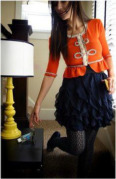 peplum sweater + ruffled navy skirt